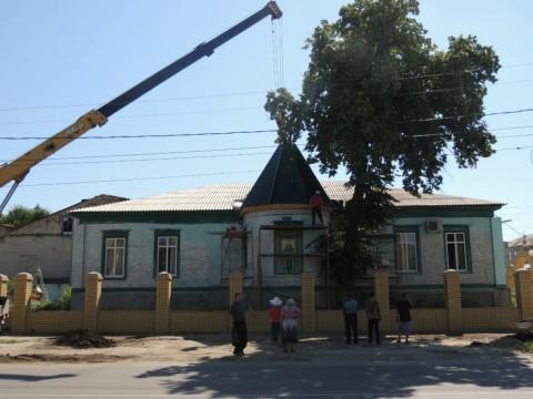 Подъем Купола на храм прп. Сергия Радонежского г. Урюпинска